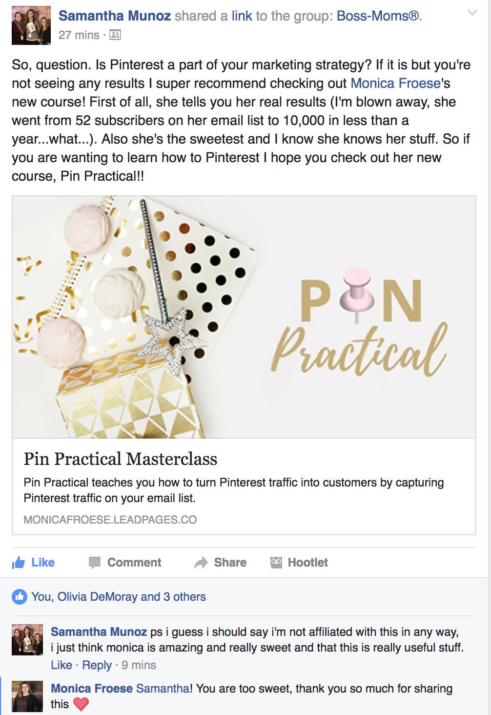 Pin Practical Testimonial