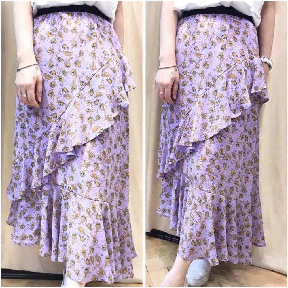 粉紫滑料長裙
