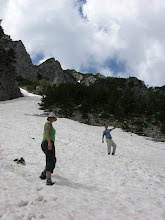 Photo: Suzanne and Florian climbing the Valbona Pass