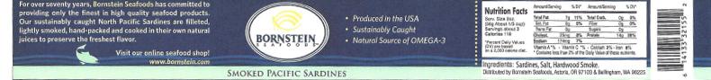 Label, Bornstein Seafoods Smoked Pacific Sardines