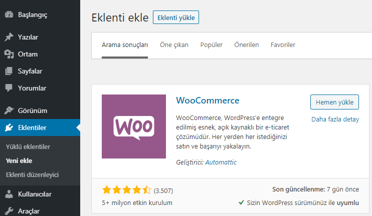 WooCommerce eklentisini WordPress'e ekleyin