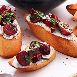 Balsamic Cherry And Goat's Cheese Bruschetta.