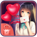 Love theme anime girl lock icon
