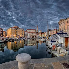 Piran by Jaro Miščevič - City,  Street & Park  Vistas ( clouds, sky, buildings, reflections, sea, boat, colours, city )