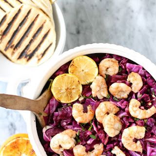 Grilled Shrimp and Radicchio Salad with Grilled Citrus Vinaigrette and Piadina