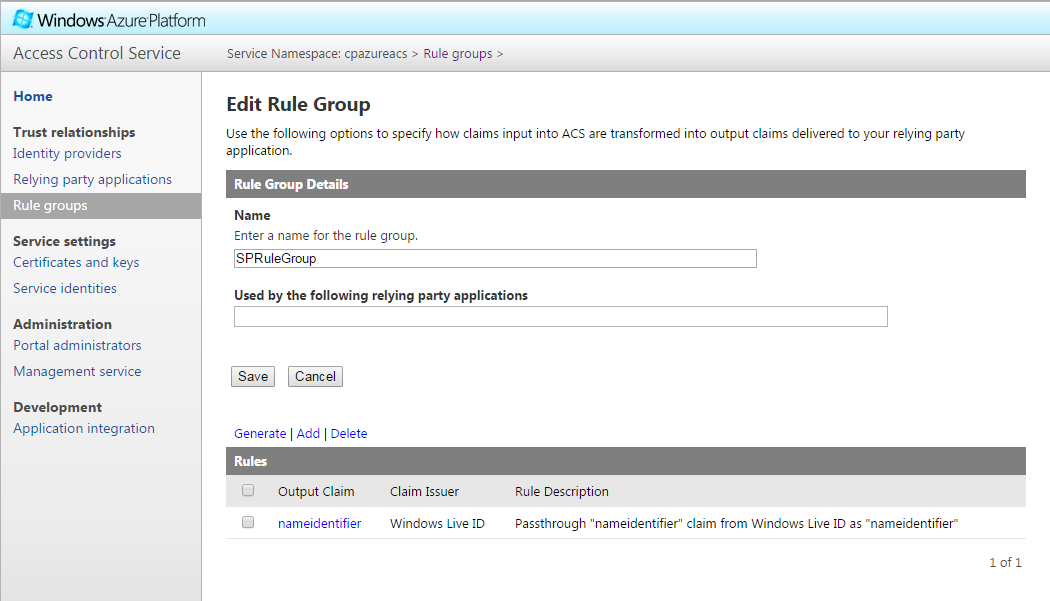 Azure ACS  Edit Rule Group