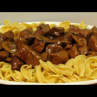 Beef and Noodles with Mushroom Gravy.