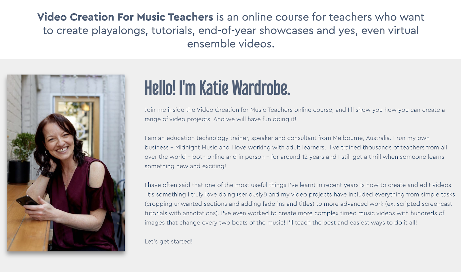 Video Creation for Music Teachers Online Course Katie Wardrobe