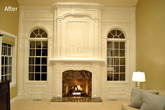 Photo: (After) Tocco's Mantle and over-Mantle, and window trimwork Marble surround Emperador Dark  Moorestown, NJ