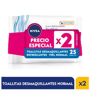 OFERTA TOALLAS HÚMEDAS   NIVEA DESMAQUILLANTE PIEL NORMALX2PAQX25UND P