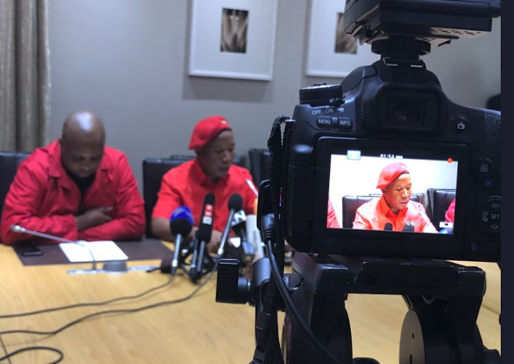 Julius Malema addresses the press at Parliament. 15 February 2018.