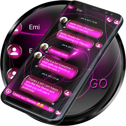 SMS Theme Sphere Pink - Dark Chat Text Message Android APK Download Free By ZT.art