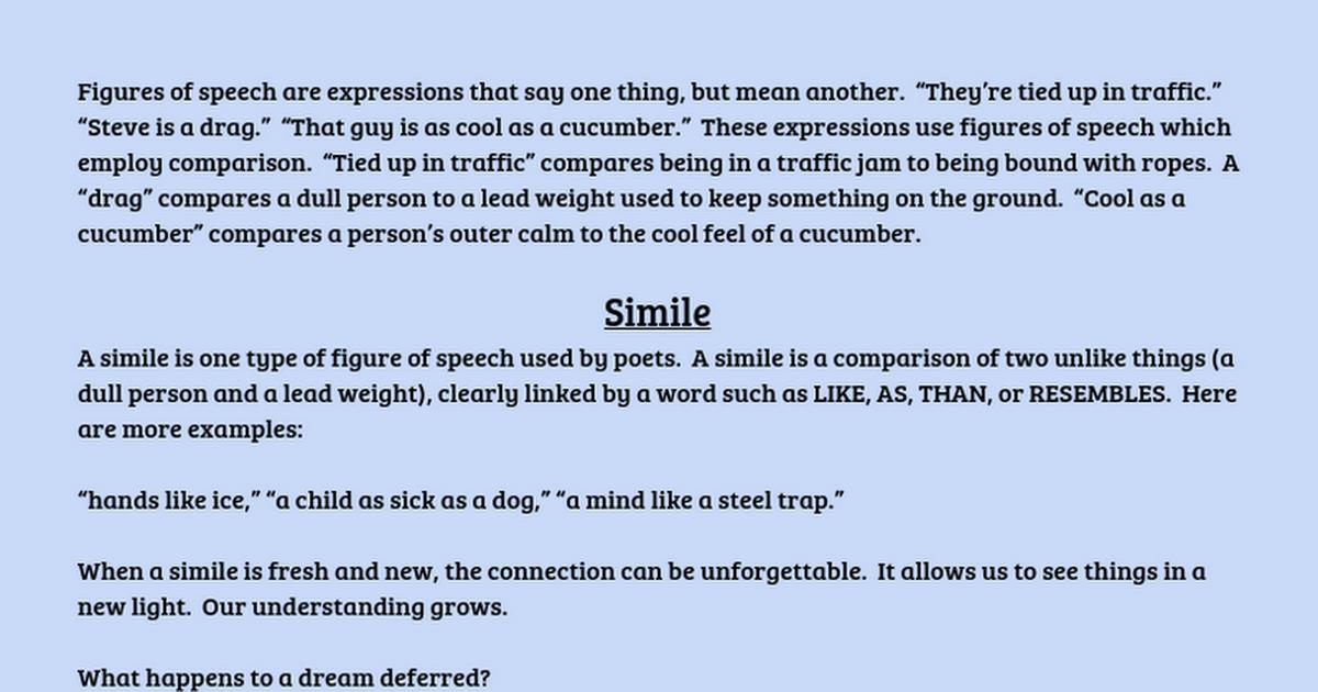 Similes And Metaphors Google Docs