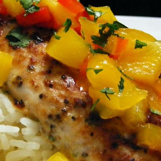 Mahi Mahi with Coconut Rice and Mango Salsa.