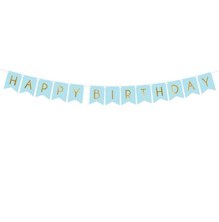 Vimpel - Happy birthday, ljusblå