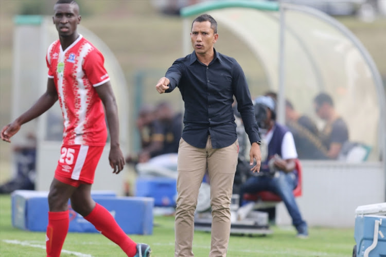 Maritzburg United head coach Fadlu Davids during the Nedbank Cup, Last 16 match against Royal Eagles at Princess Magogo Stadium on March 11, 2018 in Durban, South Africa.