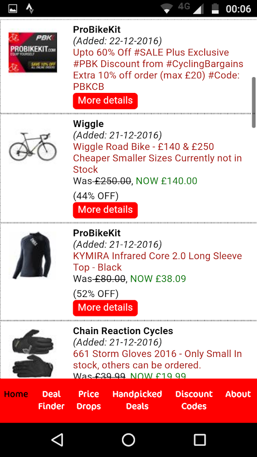 Cycling Bargains Deal Finder- screenshot