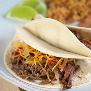 Salsa Verde Beef Tacos {Slow Cooker}