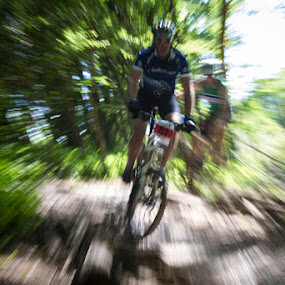 Speed by John Puddy - Sports & Fitness Cycling ( bike, speed, mountain bike, woodland, blur, motion, race )