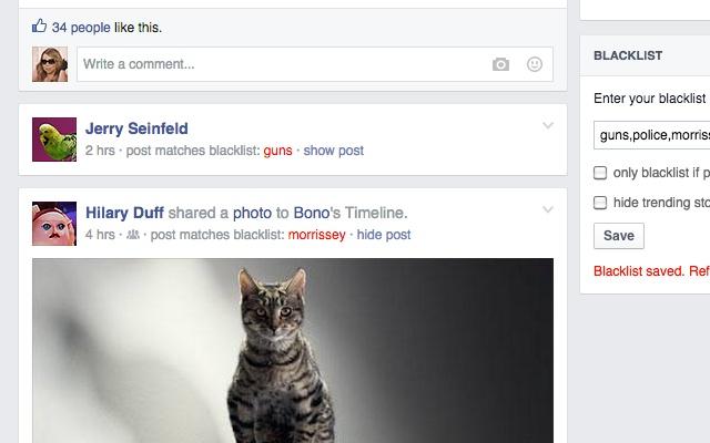 Blacklist for Facebook