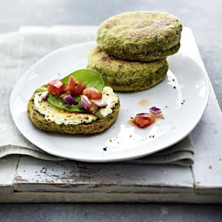 Spinach English Muffins with Goat Cheese and Tomato Relish.