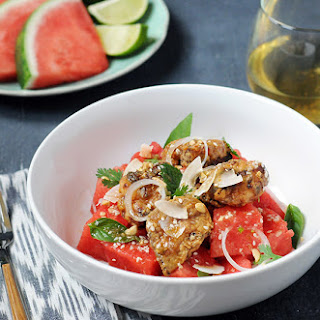 Fried Chicken & Watermelon Salad with Vietnamese-Style Dressing
