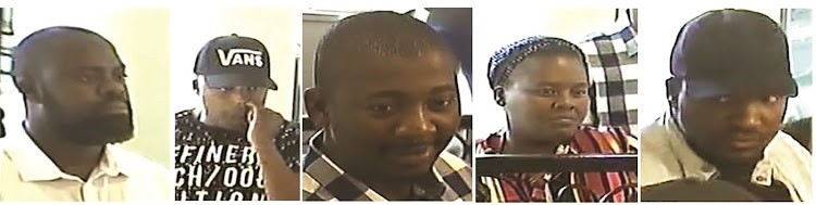 The suspects in the Browns Jewellers heist. A reward of R50,000 has been offered for each suspect or R250,000 for all five.