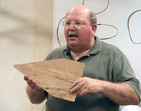 Photo: Consider this model to be the cross section of your skew chisel blade.  Different included angles provide very different results in use.  Carl talked about the tradeoffs.