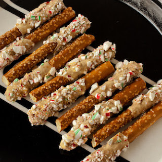 Candy Cane-Coated Caramelized White Chocolate Pretzels.
