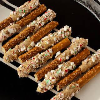 Candy Cane-Coated Caramelized White Chocolate Pretzels.