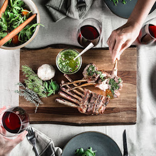 Grilled Rack of Lamb with Mint Chimichurri.