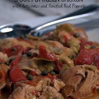 Crock Pot Italian Chicken with Artichokes and Roasted Peppers.