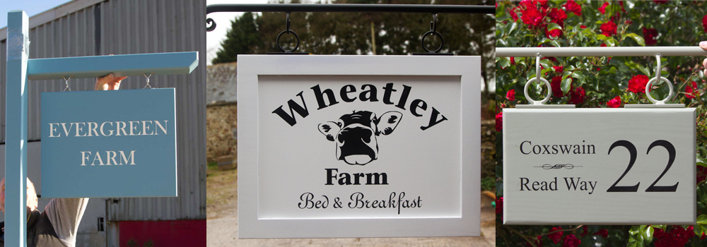 Painted wooden signs are a beautiful way to combine a modern look with a natural material.