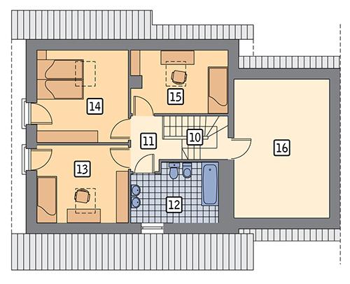 Dom na rozstaju - wariant III (bliźniak) - BCC214c - Rzut poddasza