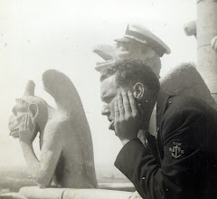 Photo: Patrick Alonzo Tillery as gargoyle - Paris on Midshipman cruise USS Wisconsin 1953. Up in one of the spires of Notre Dame. Free access where ever we wanted to go. Bet you can't do that now.