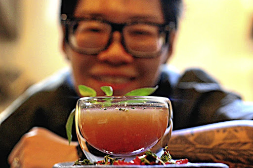 Head bartender Noreen Dunzo and her Bloody Good Mary in Outrage of Modesty.