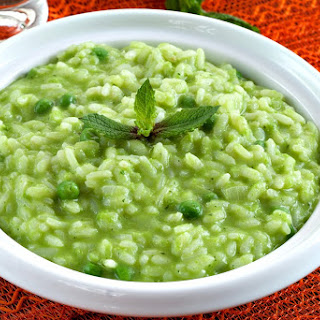 Cream of Pea and Mint Risotto.