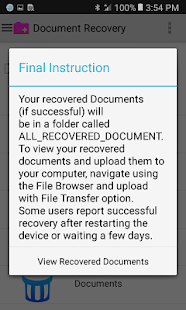 Document Recovery Screenshot