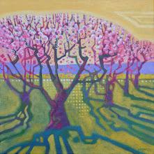 "Photo: ""Peach Blossoms"", acrylic on canvas 12"" x 12"", © Nancy Roberts"
