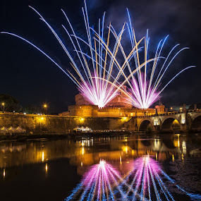 S.Peter & S.Paul Fireworks in Rome by Eric Niko - News & Events World Events ( 2014, new year, cityscape, 16-35, fire, lights, diwali, countdown, italia, d700, rome, fireworks, night, celebration, tevere, dipawali, san angel castle, italy, river, , city )