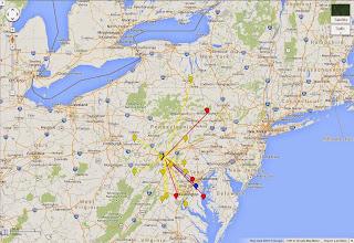 Photo: K8GP / Rover - FM19AW QSO map - ARRL June VHF 2014 -  Brn=50 Red=144 Org=222 Yel=432 Grn=902 Blu=1.2G Pur=2.3G Gry=3.4G Wht=5.7G Gld=10G