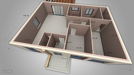 Dom gotowy MP1-G - Rzut parteru - powierzchnie w centymetrach