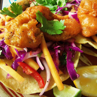 Beer-Battered Catfish Tostadas with a Mango Cabbage Slaw.