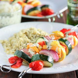 Marinated Vegetable Kabobs with Pesto Yogurt Sauce