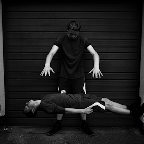 Self levitation by Mick Greaves - Black & White Portraits & People ( levitation, teen, black and white,  )