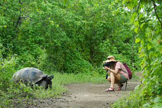 Photo: Young woman taking photo of Galapagos Tortoise while traveling in the Galapagos Islands, Ecuador.