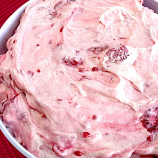 RASPBERRY VANILLA JELLO SALAD.
