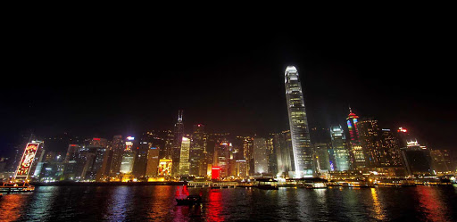 The Symphony of Lights in Victoria Harbor, Hong Kong.