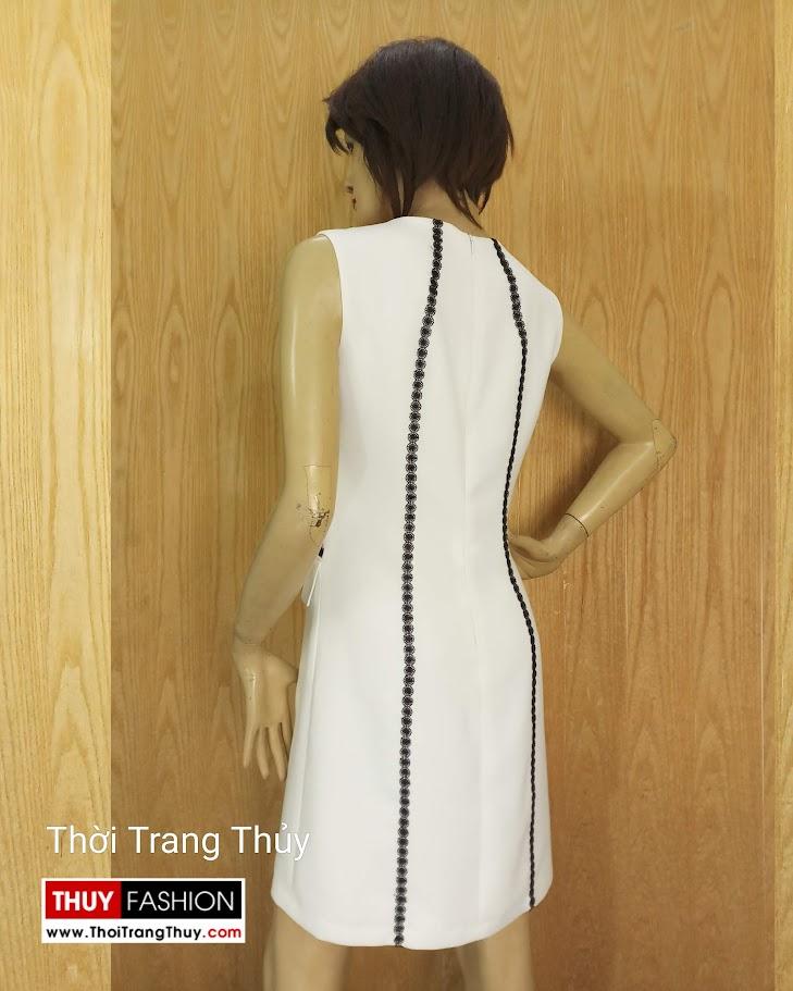 Váy suông sát nách phố ren sọc màu trắng V683 thời trang thủy