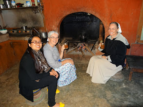 Photo: Visiting and drinking lemon tea at Ngulie Rentta's house by the fire.